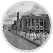 Gateway To Busch Black And White Round Beach Towel