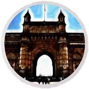 Gateway To Fractalius Round Beach Towel
