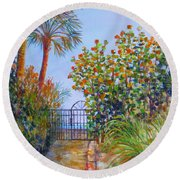 Gateway To Paradise Round Beach Towel by Lou Ann Bagnall