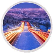 Gateway To The Rockies Round Beach Towel