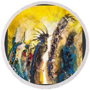 Round Beach Towel featuring the painting Gathering 2 by Kicking Bear  Productions