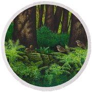 Gathering Among The Ferns Round Beach Towel