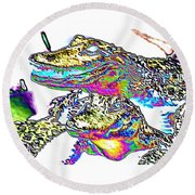 Gator Babes Foiled Round Beach Towel by Belinda Lee