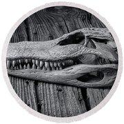 Gator Black And White Round Beach Towel