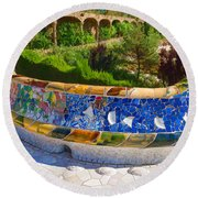 Gaudi's Park Guell - Impressions Of Barcelona Round Beach Towel