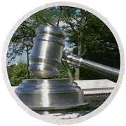 Gavel Sculpture Outside The Ohio Round Beach Towel