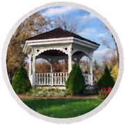 Round Beach Towel featuring the photograph Gazebo At Olmsted Falls - 1 by Mark Madere