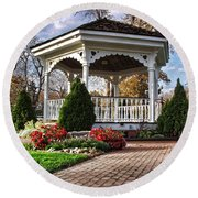 Round Beach Towel featuring the photograph Gazebo At Olmsted Falls - 3 by Mark Madere