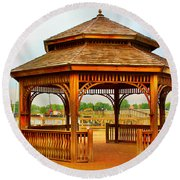 Round Beach Towel featuring the photograph Gazebo By The Water by Judy Palkimas