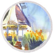 Gazebo On The City Square Round Beach Towel