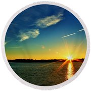 Gc Lake Sunrise Round Beach Towel