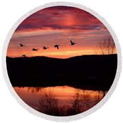 Geese After Sunset Round Beach Towel