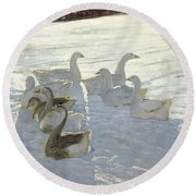 Geese Against The Light  Round Beach Towel