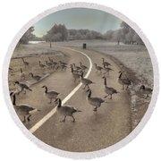 Geese Crossing Round Beach Towel