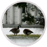 Round Beach Towel featuring the photograph Geese In Snow by Kathy Barney