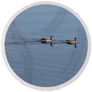 Geese Reflected Round Beach Towel by Leone Lund