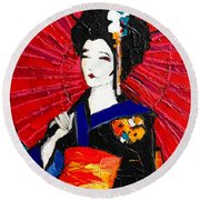 Geisha Round Beach Towel