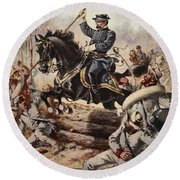 General Sheridan At The Battle Of Five Round Beach Towel