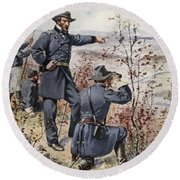 General Sherman At Kenesaw Mountain Round Beach Towel