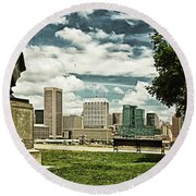 General Smith Overlooks Baltimore Harbor Round Beach Towel