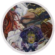 Round Beach Towel featuring the painting Wind Whisperers  by Avonelle Kelsey