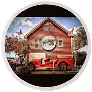 Round Beach Towel featuring the photograph Geneva On The Lake Firehouse by The Art of Alice Terrill