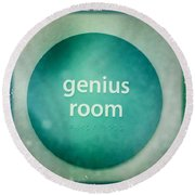 Round Beach Towel featuring the photograph Genius Room by Nina Prommer