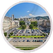 Genova - Piazza Della Vittoria Overview Round Beach Towel
