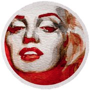 Round Beach Towel featuring the painting Gentlemens Prefer Blondes by Laur Iduc