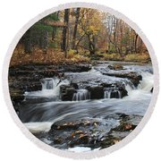 Gently Falling Downstream  Round Beach Towel