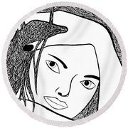 Round Beach Towel featuring the drawing Genuine by Jamie Lynn