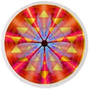 Geo-cosmic Sri Yantra Round Beach Towel
