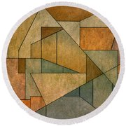 Geometric Abstraction Iv Round Beach Towel