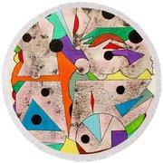 Geometric Conundrum Round Beach Towel by Roberto Prusso