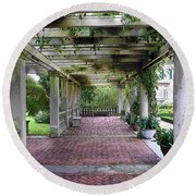 Round Beach Towel featuring the photograph George Eastman Home Pergola Rochester Ny  by Jodie Marie Anne Richardson Traugott          aka jm-ART