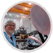 George F. Smoot With Planck Obs. Mirrors Round Beach Towel