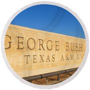 George H. Bush Library, Texas Round Beach Towel