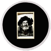 George Hayes Portrait #1 Card Round Beach Towel by David Lee Guss