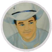 Round Beach Towel featuring the painting George by Marisela Mungia