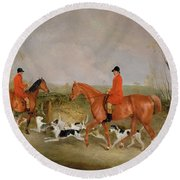 George Mountford, Huntsman To The Quorn, And W. Derry, Whipper-in, At John Ogaunts Gorse, Nr Melton Round Beach Towel