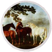 Round Beach Towel featuring the painting Horses by George Stubbs