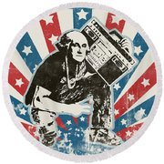 George Washington - Boombox Round Beach Towel
