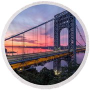 George Washington Bridge Round Beach Towel by Mihai Andritoiu