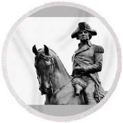 George Washington Statue Boston Ma Round Beach Towel