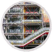 Georges Pompidou Centre Round Beach Towel by Oleg Zavarzin
