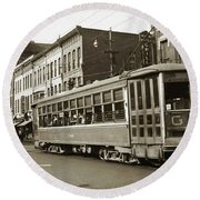 Georgetown Trolley E Market St Wilkes Barre Pa By City Hall Mid 1900s Round Beach Towel