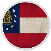 Georgia State Flag Round Beach Towel