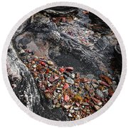 Georgian Bay Rocks Abstract I Round Beach Towel
