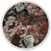 Georgian Bay Rocks Abstract II Round Beach Towel