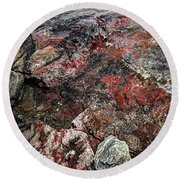 Georgian Bay Rocks Abstract IIi Round Beach Towel